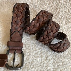 NEW♦️Brown Leather Braided Woven Belt 38